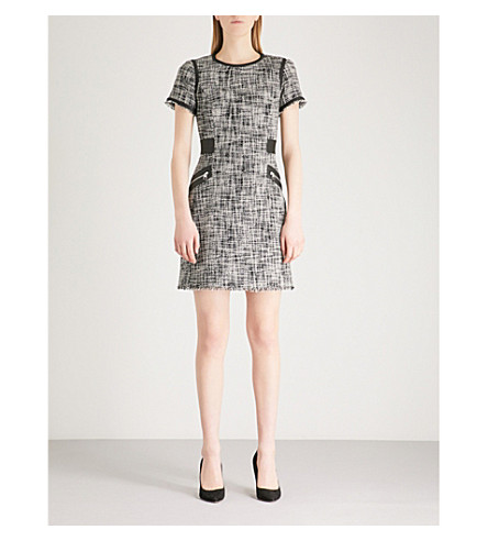 KAREN MILLEN Faux-leather detail tweed mini dress (Monochrome
