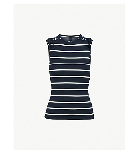 KAREN MILLEN Striped sleeveless jersey top (Multi-coloured