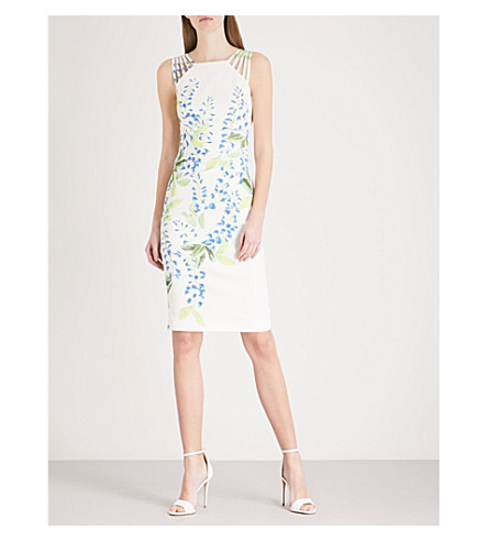 KAREN MILLEN Wisteria-print crepe dress (Grey