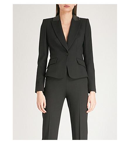 KAREN MILLEN Slim-fit wool-blend suit jacket (Black