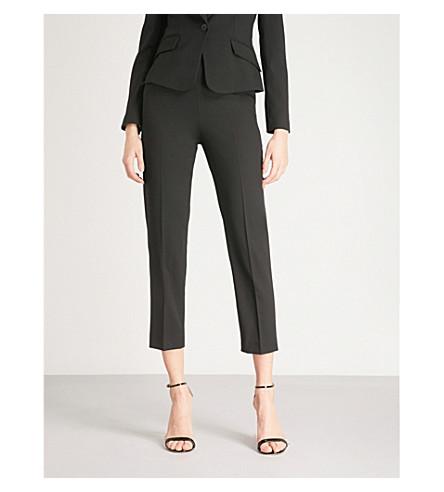 KAREN MILLEN Cropped wool-blend trousers (Black