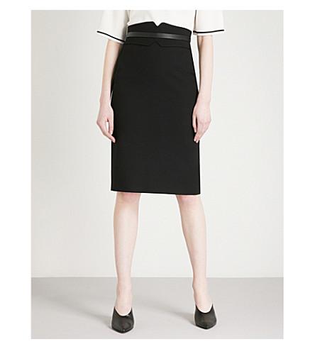 KAREN MILLEN Faux-leather trim wool-blend pencil skirt (Black
