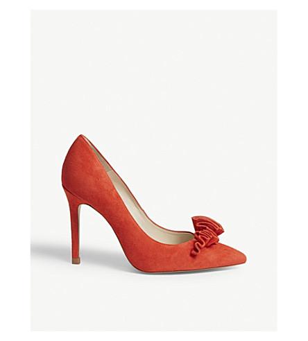KAREN MILLEN Ruffled suede heeled courts (Red