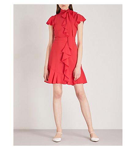 KAREN MILLEN Frilled crepe dress (Red