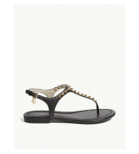 Studded flat faux-leather sandals