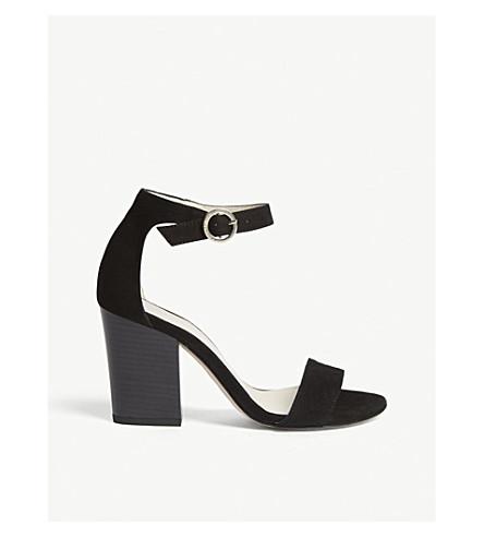 KAREN MILLEN麂皮绒块鞋跟凉鞋 (黑色