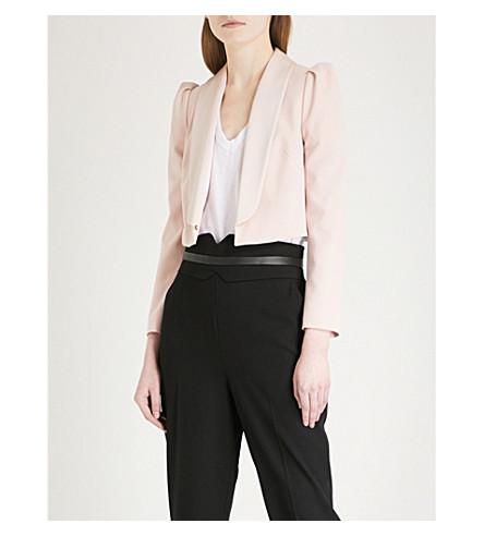 KAREN MILLEN Cropped crepe jacket (Pale+pink