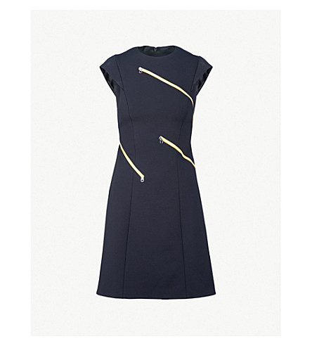 KAREN MILLEN Zip-detail jersey dress (Navy
