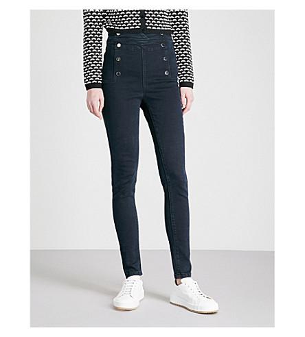 KAREN MILLEN Button-detail skinny high-rise jeans (Blue