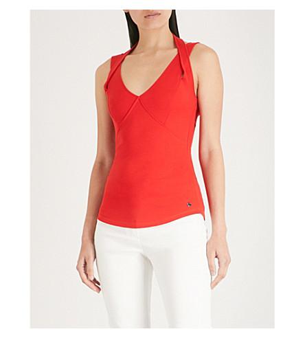 con Rojo Top algodón doble MILLEN tira de elástico KAREN Xq81wP