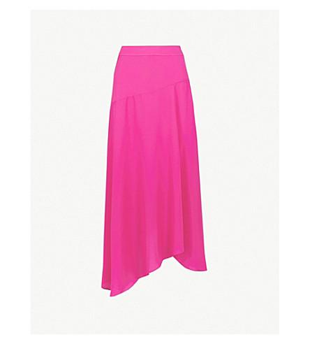 KAREN MILLEN高层不对称下摆绉裙 (粉红色
