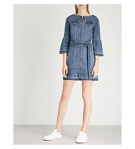 KAREN MILLEN Flared-cuff cotton-denim dress (Blue