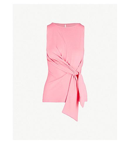 KAREN MILLEN领带前棉混纺顶部 (粉红色