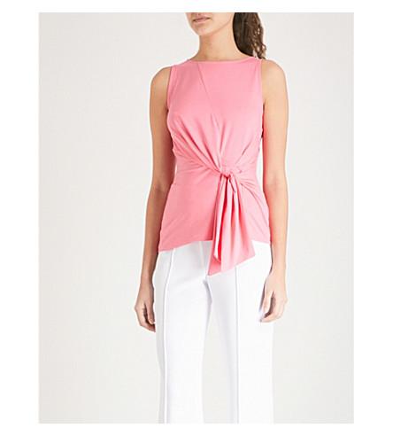 KAREN MILLEN Tie-front cotton-blend top Pink Cheap Price Pre Order Sale How Much Discounts Sale Online 06pm3