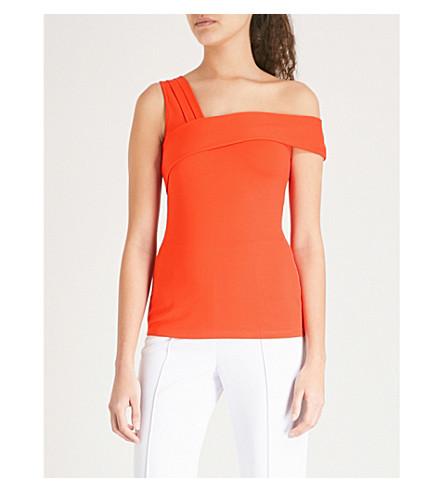 KAREN MILLEN Off-the-shoulder jersey top (Bright+orange