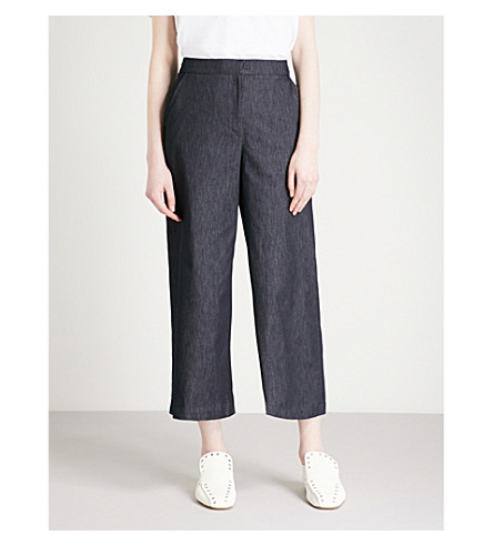 KAREN MILLEN High-rise denim culottes (Blue