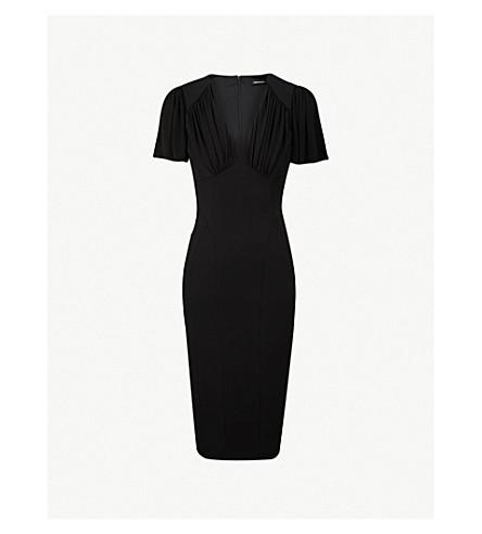 KAREN MILLEN Draped-front jersey dress (Black
