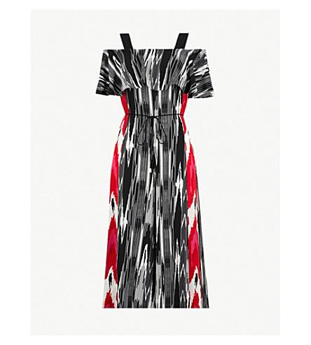 KAREN MILLEN Striped-print crepe jumpsuit (Grey
