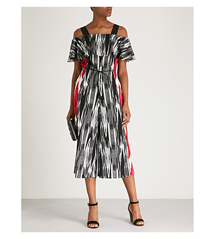 KAREN MILLEN Striped-print crepe jumpsuit (Grey