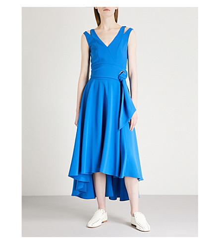 KAREN MILLEN Belted woven dress Blue Free Shipping Shop For 26BKi8p8