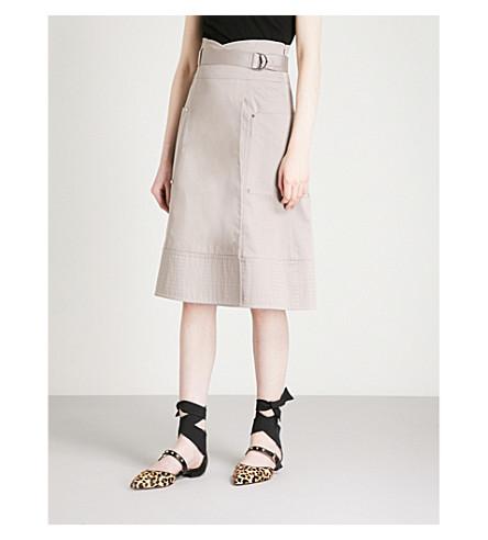 KAREN MILLEN High-rise stretch-cotton skirt (Grey