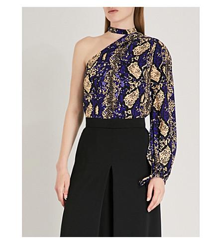 KAREN MILLEN Snake-print one-shoulder silk top (Multi-coloured