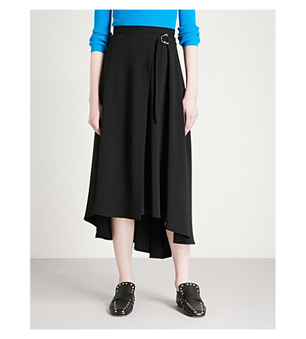 KAREN MILLEN High-rise crepe skirt (Black