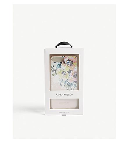 KAREN MILLEN Painted floral iPhone Plus case (Cream