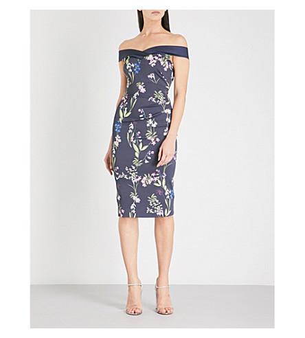 KAREN MILLEN Floral-print satin dress (Grey