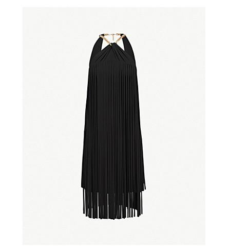 KAREN MILLEN Fringed halterneck dress (Black