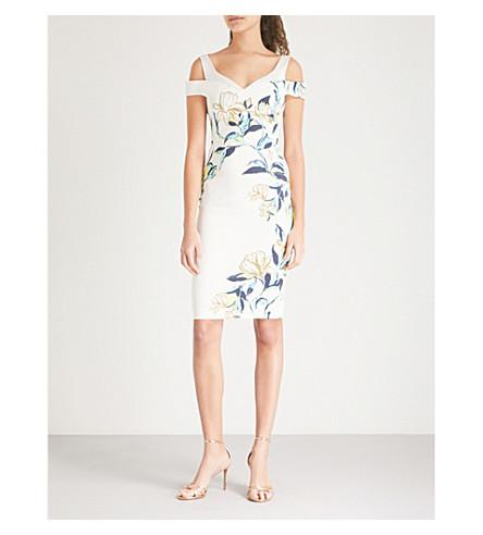 KAREN MILLEN Cold-shoulder floral satin bardot dress (Multi-coloured