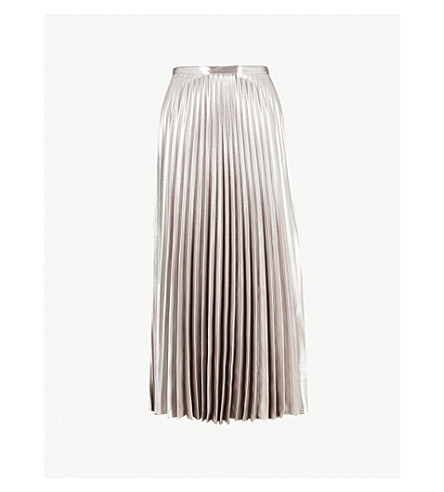 KAREN MILLEN Metallic pleated skirt (Gold