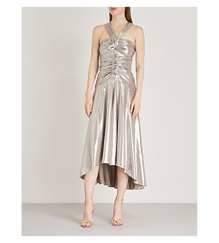 KAREN MILLEN Metallic halterneck dress (Gold