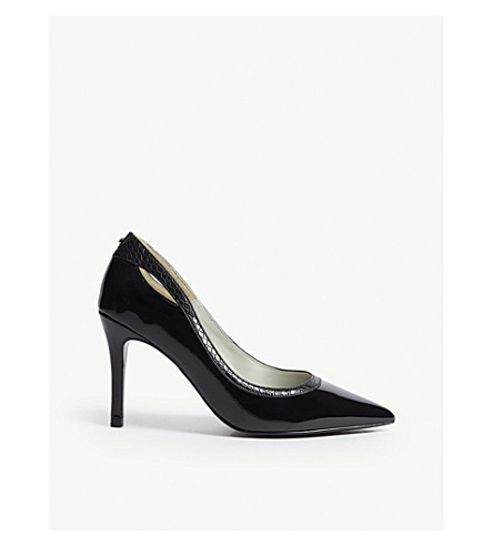 KAREN MILLEN Patent faux-leather courts (Black