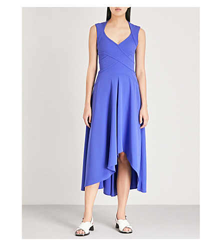 KAREN MILLEN Waterfall-hem crepe wrap dress (Blue