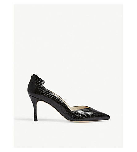 Snakeskin-embossed leather courts