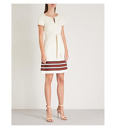 con KAREN Vestido de MILLEN Crema algodón de rayas elástico detalle S4HX4wnq