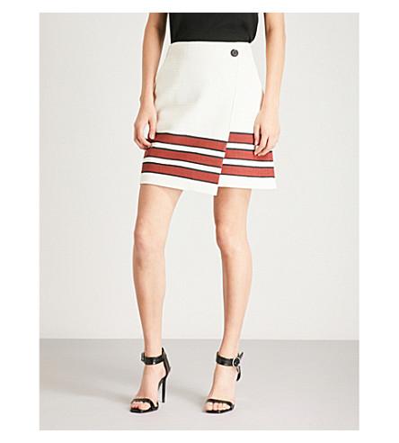 Striped cotton-blend mini wrap skirt