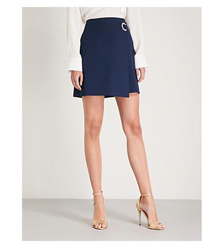 KAREN MILLEN Cotton-blend mini wrap skirt
