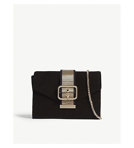 Suede buckle clutch