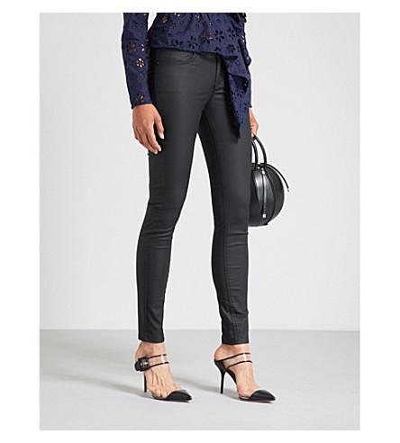KAREN MILLEN Coated cropped high-rise skinny jeans