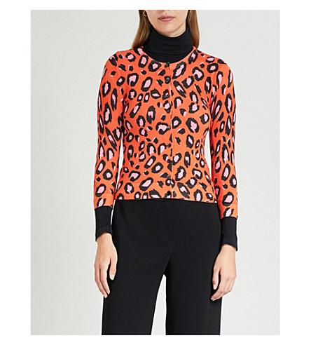 KAREN MILLEN Leopard-print jersey cardigan