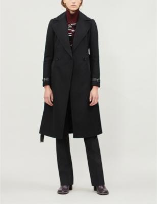 Wrap-over wool-blend coat