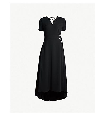KAREN MILLEN Wrap crepe dress (Black