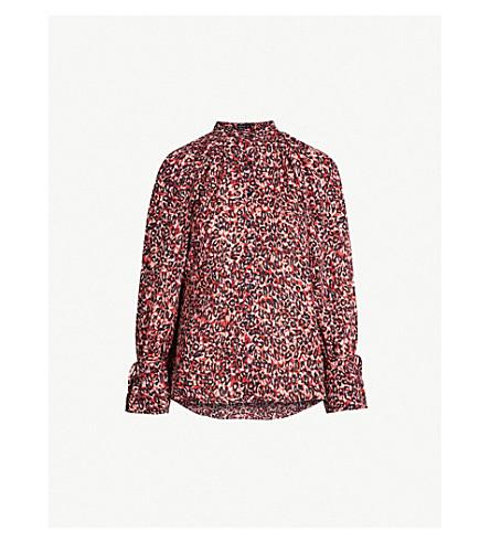 7c3a531314d45 ... KAREN MILLEN Cold-shoulder leopard-print crepe top (Multi-coloured.  PreviousNext