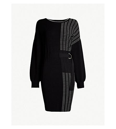 KAREN MILLEN Belted dot-panelled stretch-knit dress (Monochrome