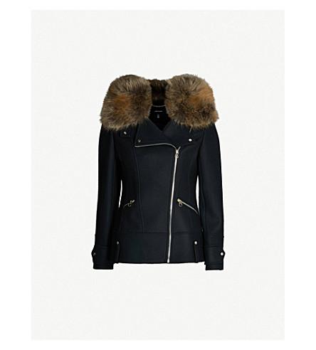 KAREN MILLEN Zipper-up wool-blend jacket (Navy