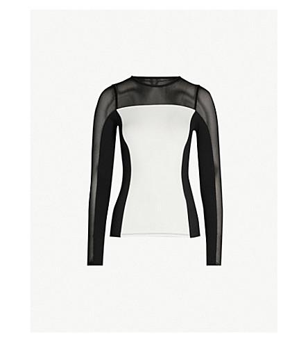 KAREN MILLEN Mesh-insert stretch-jersey top (Monochrome