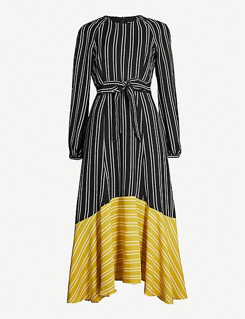 284566589a KAREN MILLEN Contrast-hem striped crepe maxi dress