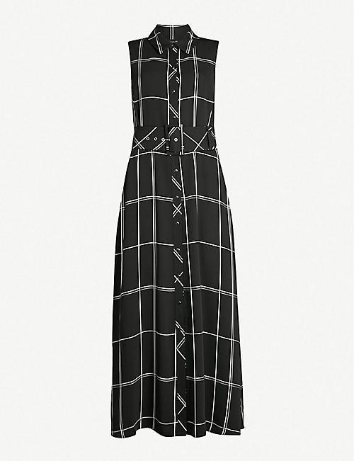 0083b76195 KAREN MILLEN Check-print satin midi dress
